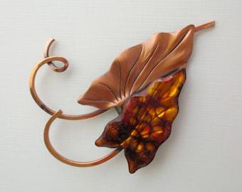 Vintage Designer Matisse Renoir Leaf Pin - Copper and Enamel - Mid Century