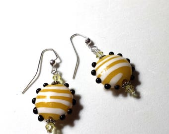 Decorated Handcrafted Lampwork Glass Drop Earrings # 3A