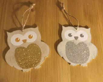 Handpainted Wooden Christmas Owls