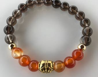 Carnelia Smoky quartz yoga Stackable Gift Bracelet Valentine's Day