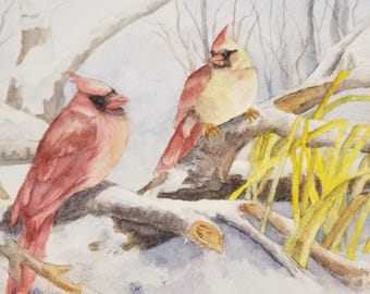 Blank Note Card - CARDINALS IN WINTER
