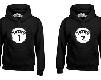 Couple Hoodies Thing 1 and Thing 2 Couples Cute Matching Love Couples Halloween Gift