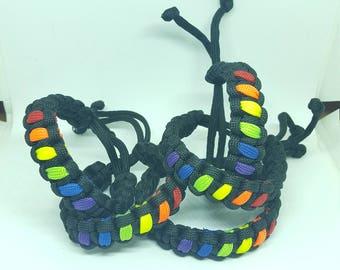 Adjustable Pride Paracord Bracelet