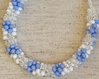 Braided Beaded Bracelet//Blue and White//Gifts//Size Extra Large