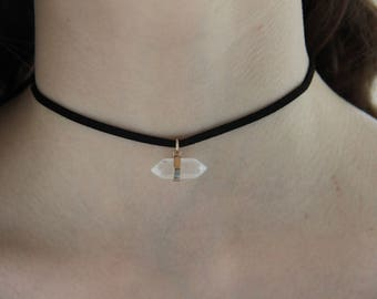 Black Faux Suede Choker With Clear Crystal Charm - Dainty Choker Necklace - Minimalist Choker Necklace