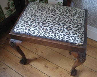 Edwardian Mahogany Ball & Claw Foot Stool, Traditionally Upholstered in 'Wild Card' Leopard Print Jacquard Fabric by House of Hackney