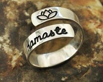 Namaste Ring. Lotus Flower Ring. Hand Stamped Wrap Ring.