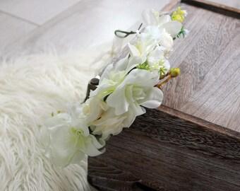 Floral Crown, Boho Crown, Wedding Wreath, Flowergirl Crown, Floral Headban, Floral Headpiece, Bridal Wreath, Garden Wedding, Photo Props