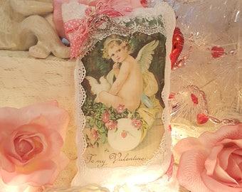 Vintage Shabby Chic Pink Cupid Valentine Lavender Sachet Love Pillow Heart Romantic Pillow Vintage Lace Valentine Cherub Hanging Sachet