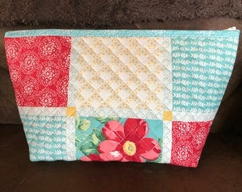 Makeup Case Travel Case bag quilted, colorful, roomy, travel, suitcase, weekend, bright fun pack packing container organizer zippered  lined