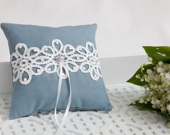 Blue cotton ring pillow, Lace Ring Pillow, Wedding ring bearer pillow, Wedding Ring Pillow, Wedding Pillow, Ring Cushion