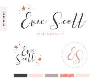 Rose Gold Glitter Foil Watercolor Logo Premade logo design Pre made branding kit set handwritten calligraphy font brush stroke watermark