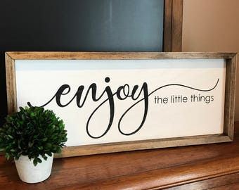 """Enjoy the Little Things - Farmhouse Style Framed Wood Sign - 25"""" x 11"""" - Rustic Home Decor"""