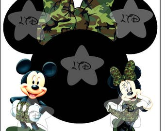 Mickey & Minnie Camouflage  Digital Image,Diy