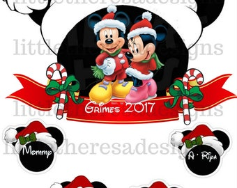 Mickey and Minnie  Family Christmas Transfer,Digital Transfer,Digital Iron Ons,Diy
