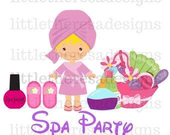Birthday Girl Spa Party Transfers,Digital Transfer,Digital Iron On,Diy
