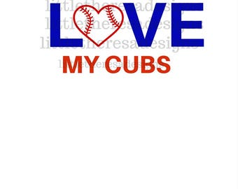love My Cubs Transfer,Digital Transfer,Digital Iron On,Diy