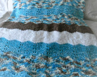 "Teal/white/brown scallop patterned hand knit baby or toddler blanket.   35"" x 42"""