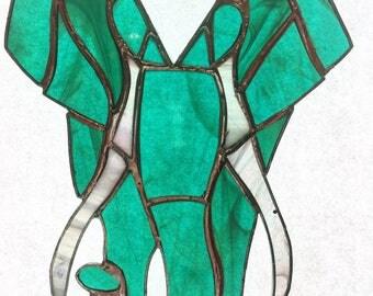 Teal Elephant Stained Glass Suncatcher