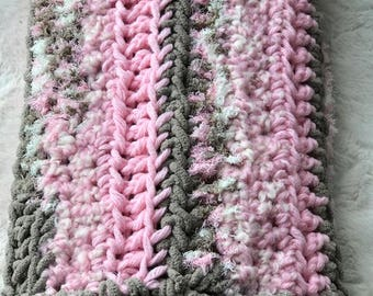 Pink & Gray Baby Blanket Lovey