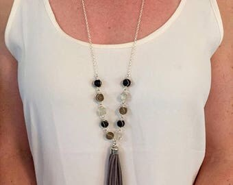ON SALE Tasseled and Charmed Necklace