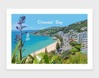 Oriental Bay Print, Wellington, New Zealand Art, Travel Poster, Retro, Wall Art, Beach Print, Flax, NZHolidayArt
