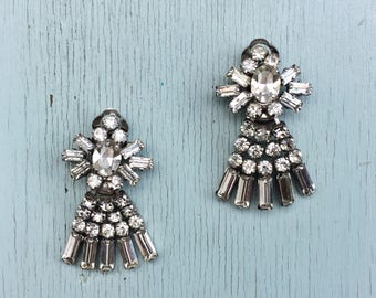 1950's/60's Rhinestone Chandelier Clip on Earrings