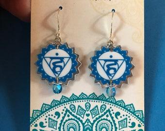 Chakra Earrings - Vishudha, Throat Chakra Jewelry, Chakra, Chakra Earrings, Chakra Jewelry, Vishudha Chakra, Yoga Earrings, Yoga Jewelry