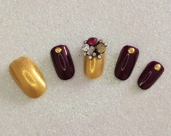 READY TO SHIP * Burgundy & Gold Press On Nails * Fale Nails * False Nails
