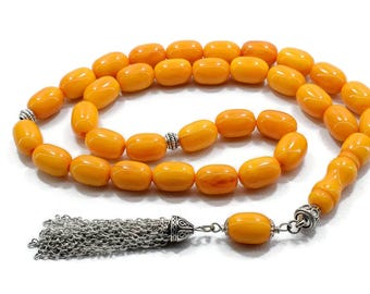 Acrylic Kahraman color Tesbih, Islamic Prayer Beads, 33 Beads Tasbih Misbaha, Metal Tassel, مسبحة