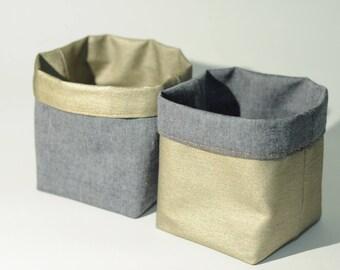 Storage basket / planter / tray coated denim reversible