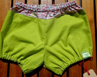 Bloomers in pistachio green cotton and kiwi/watermelon patterns
