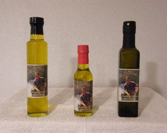 Garlic Infused 100% Imported Extra Virgin Olive Oil - Two 8.5 Ounce Bottles