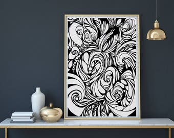 Printable Artwork, Abstract, Swirls, Curves, Black and White Prints, Art Print, Wall art