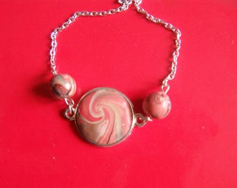 Bracelet with polymer clay beads and cabochon