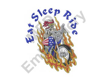 Biker Skeleton - Machine Embroidery Design