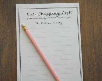 Our Shopping List- Personalized Notepad
