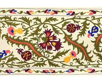 Splendid Colorful Uzbek Silk Embroidered Long Suzani Tapestry Eye Catching Focal Point & Great Conversation Piece 1047