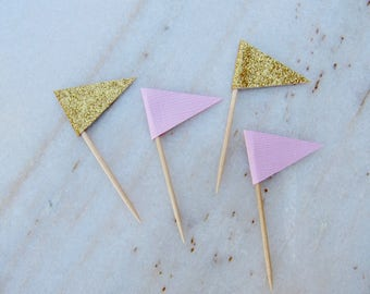 24  PINK and GOLD Glitter Cupcake Toppers, Cupcake flags. Wedding, Bridal Shower, Sweet Sixteen, Birthday Party Decoration