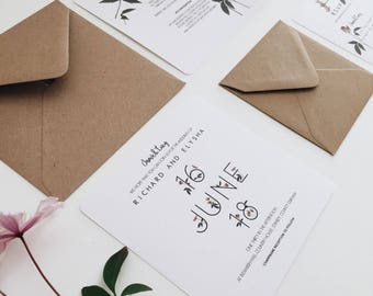 Minimal Clematis    Rustic Wedding Invitations, Handmade Wedding Invites, Modern Floral Wedding Invite Suite, Unique Wedding Invitations