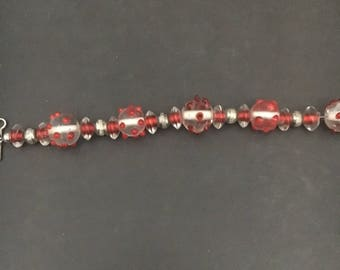 Beaded red and silver bracelet