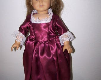 American Girl Felicity And Elizabeth Cole dress- maroon satin gown with dragonfly necklace