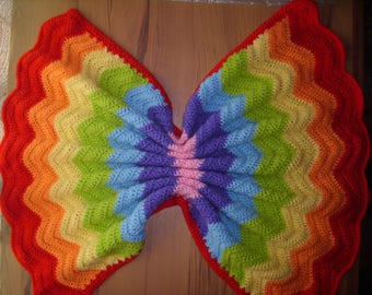 76x70cm, 30x 28 inches Hand crochet baby blanket,ready to ship. In ripple design rainbow colors.