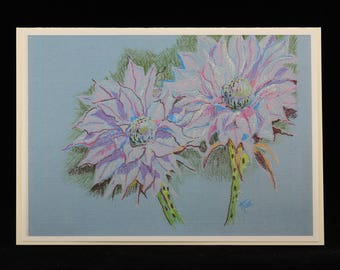 Cactus Flowers Art Note Card, Arizona Southwest Blooming Cactus, from Colored Pencil Drawing by Karlene Voepel