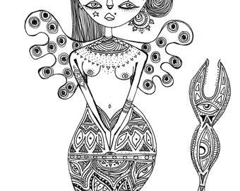 scorpion goddess print