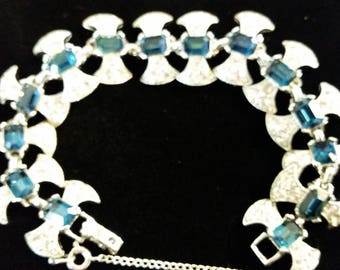 Fine Art Deco Vintage Rhinestones and Blue glass bracelet