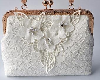 Pearl Clutch, Lace Bridal Clutch, Wedding Purse, Ivory Bridal Clutch, White Pearled Pretty Kisslock