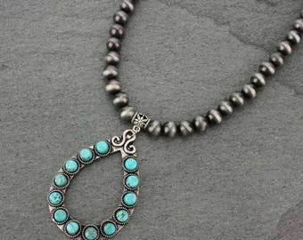 """Natural Turquoise Necklace 16"""" Pewter Navajo Pearl Necklace & 5"""" Extender Pendant-N731713009"""