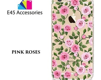 PINL ROSES Floral Flower Hard Case for iPhone 5S 5 SE, iPhone 6S 6 or iPhone 7
