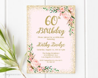 60th Birthday Invitation, Floral Birthday Invitation, Any Age Birthday Invite, Blush Pink, PERSONALIZED, Digital file, #W58